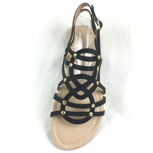 Black Sandals Buckle Closure Gold Accent